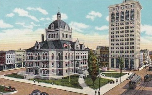 Historical Image of Exterior with Fayette County Courthouse, 21c Museum Hotel Lexington by MGallery, 1914, Member of Historic Hotels of America, in Lexington, Kentucky..