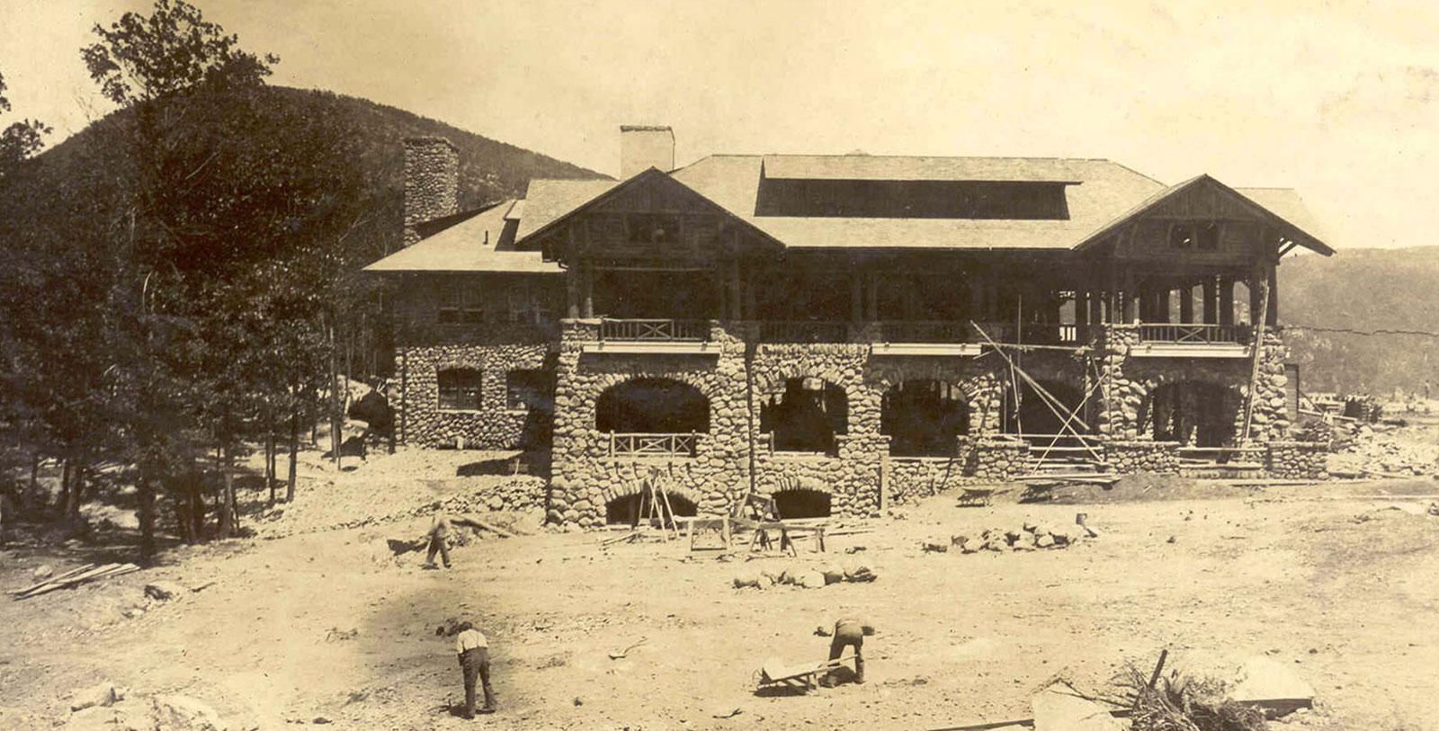 Historic Image of Hotel Construction in 1915 Bear Mountain Inn in Bear Mountain, New York