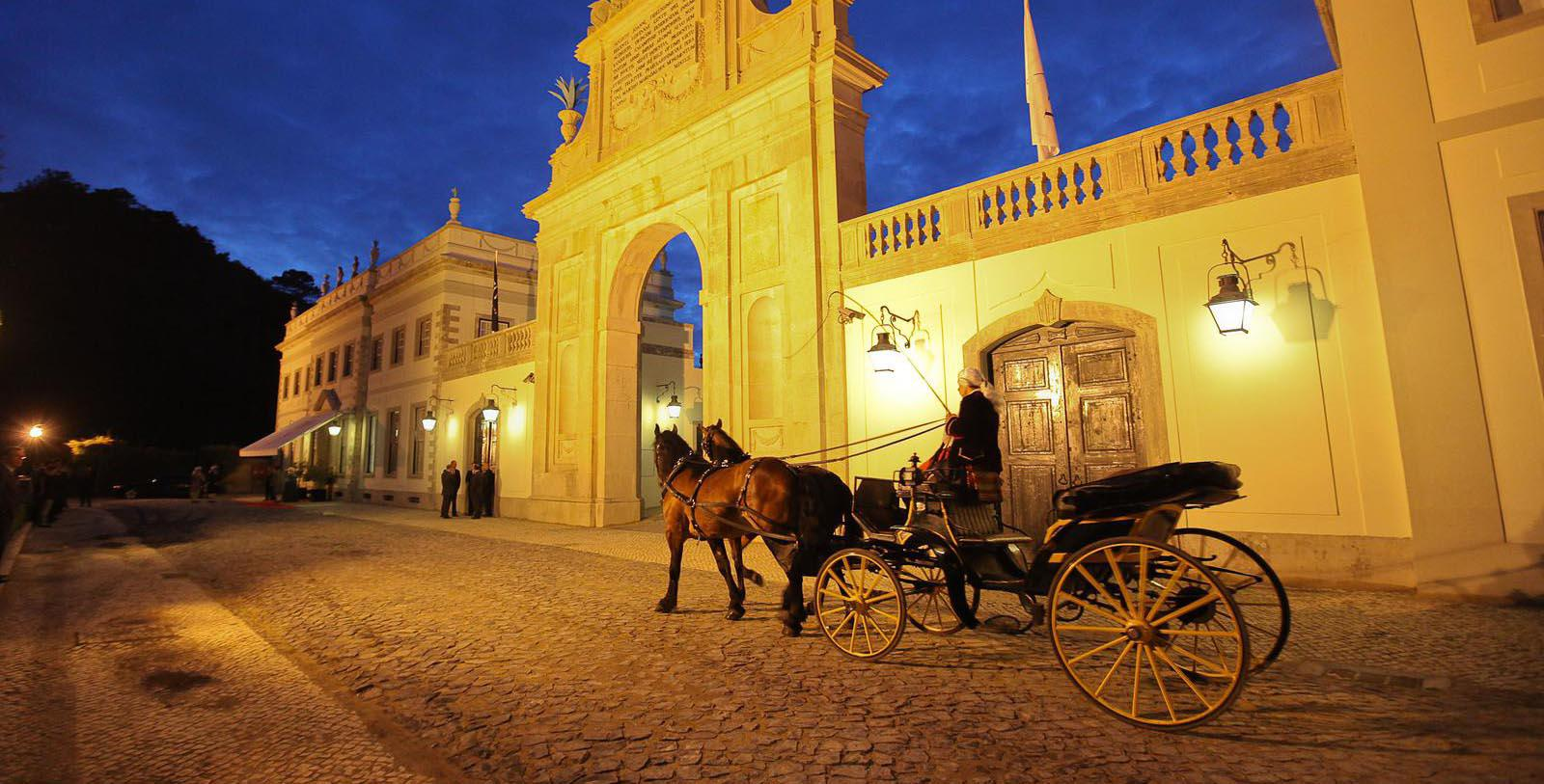 Image of Carriage Outside Hotel Front Entrance at Tivoli Palacio de Seteais, 1787, Member of Historic Hotels Worldwide, in Sintra, Portugal, Discover