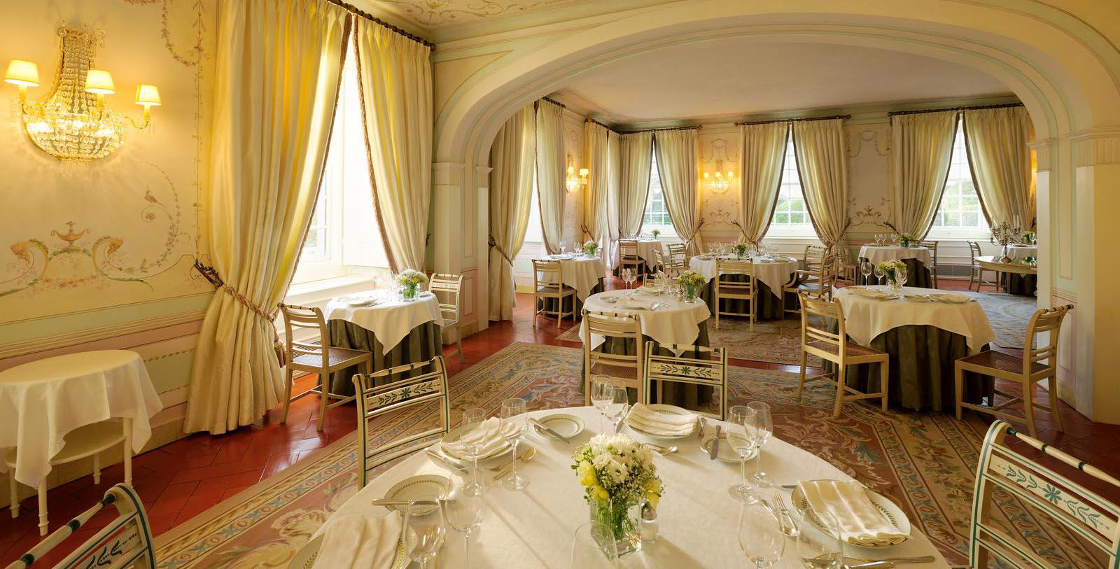Image of Dining Room at Seteais Restaurant at Tivoli Palacio de Seteais, 1787, Member of Historic Hotels Worldwide, in Sintra, Portugal, Dining