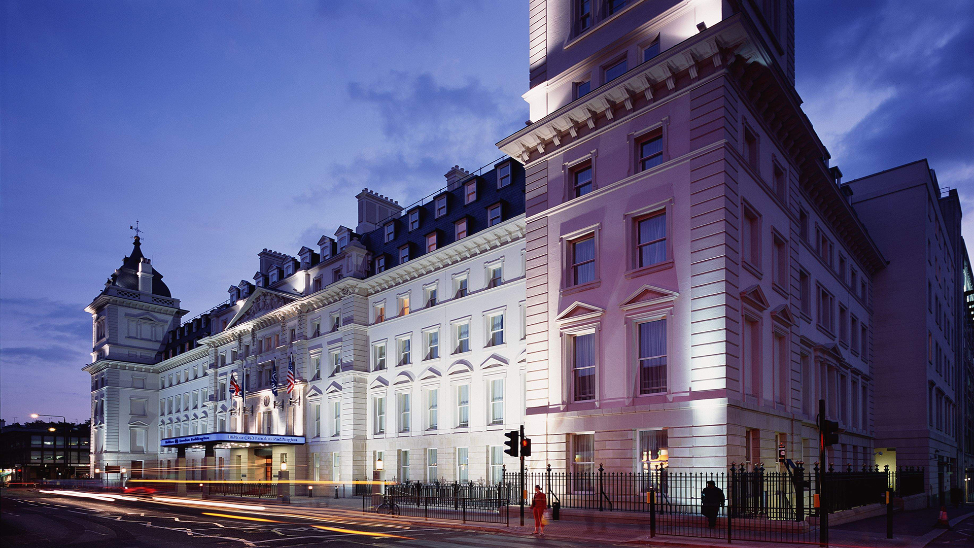 Image of Exterior at Night, Hilton London Paddington, United Kingdom, 1854, Member of Historic Hotels Worldwide, Special Offers, Discounted Rates, Families, Romantic Escape, Honeymoons, Anniversaries, Reunions