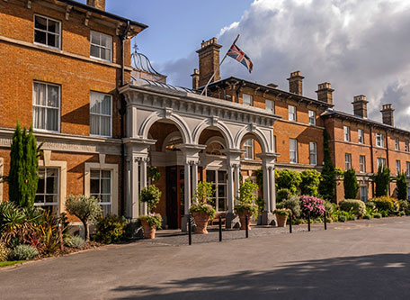 Image of Hotel Entrance Oatlands Park Hotel, 1856, Member of Historic Hotels Worldwide, in Weybridge, England, Special Offers, Discounted Rates, Families, Romantic Escape, Honeymoons, Anniversaries, Reunions