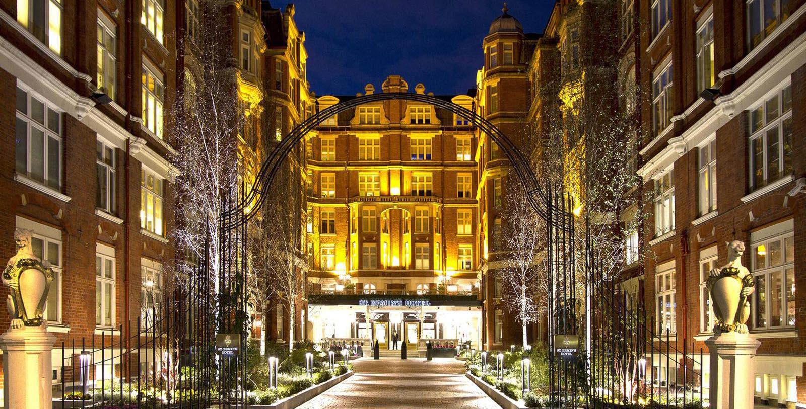 Image of Hotel Front Entrance at St. Ermin's Hotel, 1889, Member of Historic Hotels Worldwide, in London, England, United Kingdom, Special Offers, Discounted Rates, Families, Romantic Escape, Honeymoons, Anniversaries, Reunions