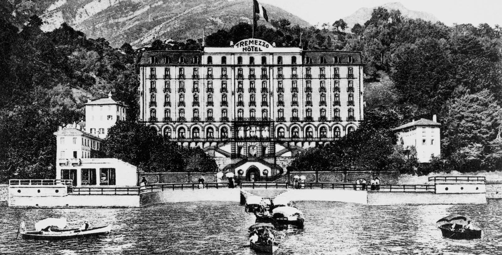 Historic Exterior of Grand Hotel Tremezzo on Lake Como in Tremezzo, Italy