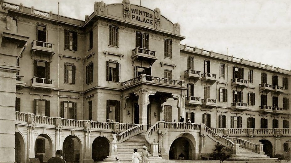 Historical Image of Exterior, Sofitel Winter Palace Luxor, 1886, Member of Historic Hotels Worldwide, in Luxor, Egypt.