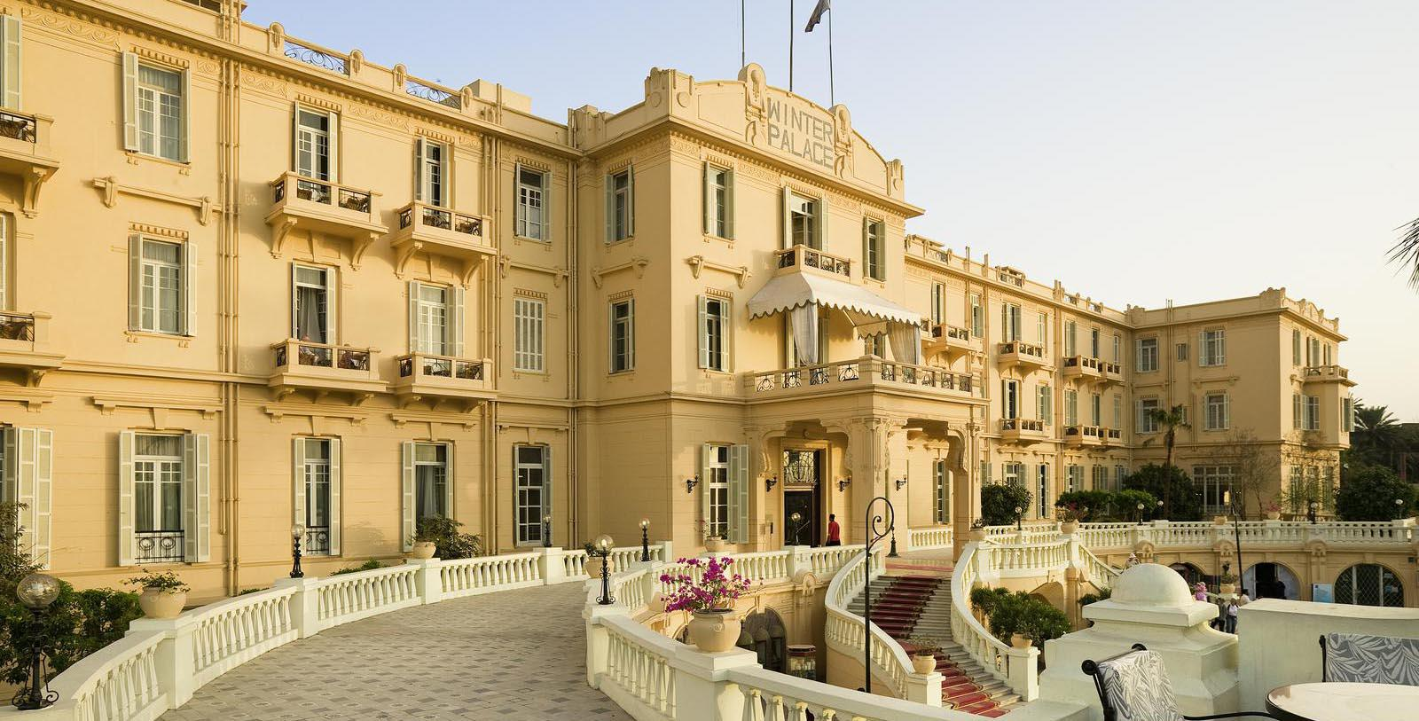 Image of Hotel Front Entrance at Sofitel Winter Palace Luxor, 1886, Member of Historic Hotels Worldwide, in Luxor, Egypt, Special Offers, Discounted Rates, Families, Romantic Escape, Honeymoons, Anniversaries, Reunions