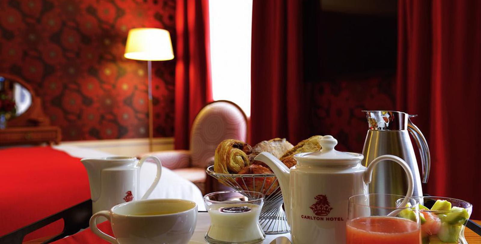 Image of Breakfast in Guestroom Hôtel Carlton Lyon - MGallery by Sofitel, 1894, Member of Historic Hotels Worldwide, in Lyon, France, Hot Deals