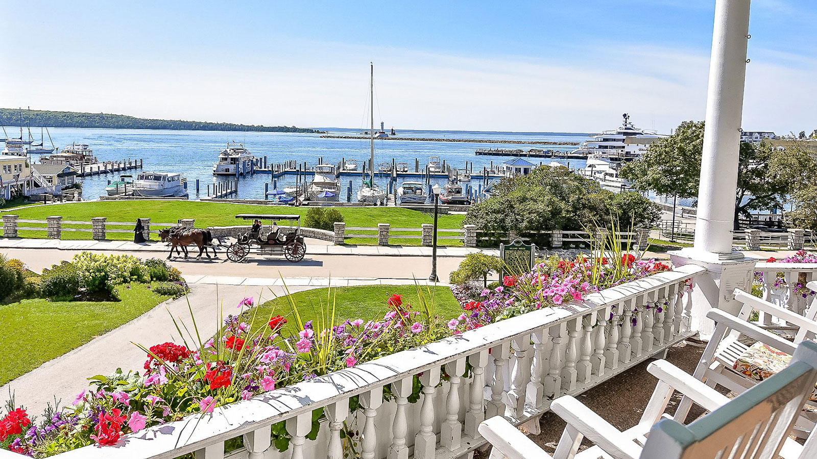 Image of Marina View from Front Porch, Island House Hotel in Mackinac Island, Michigan, 1852, Member of Historic Hotels of America, Hot Deals