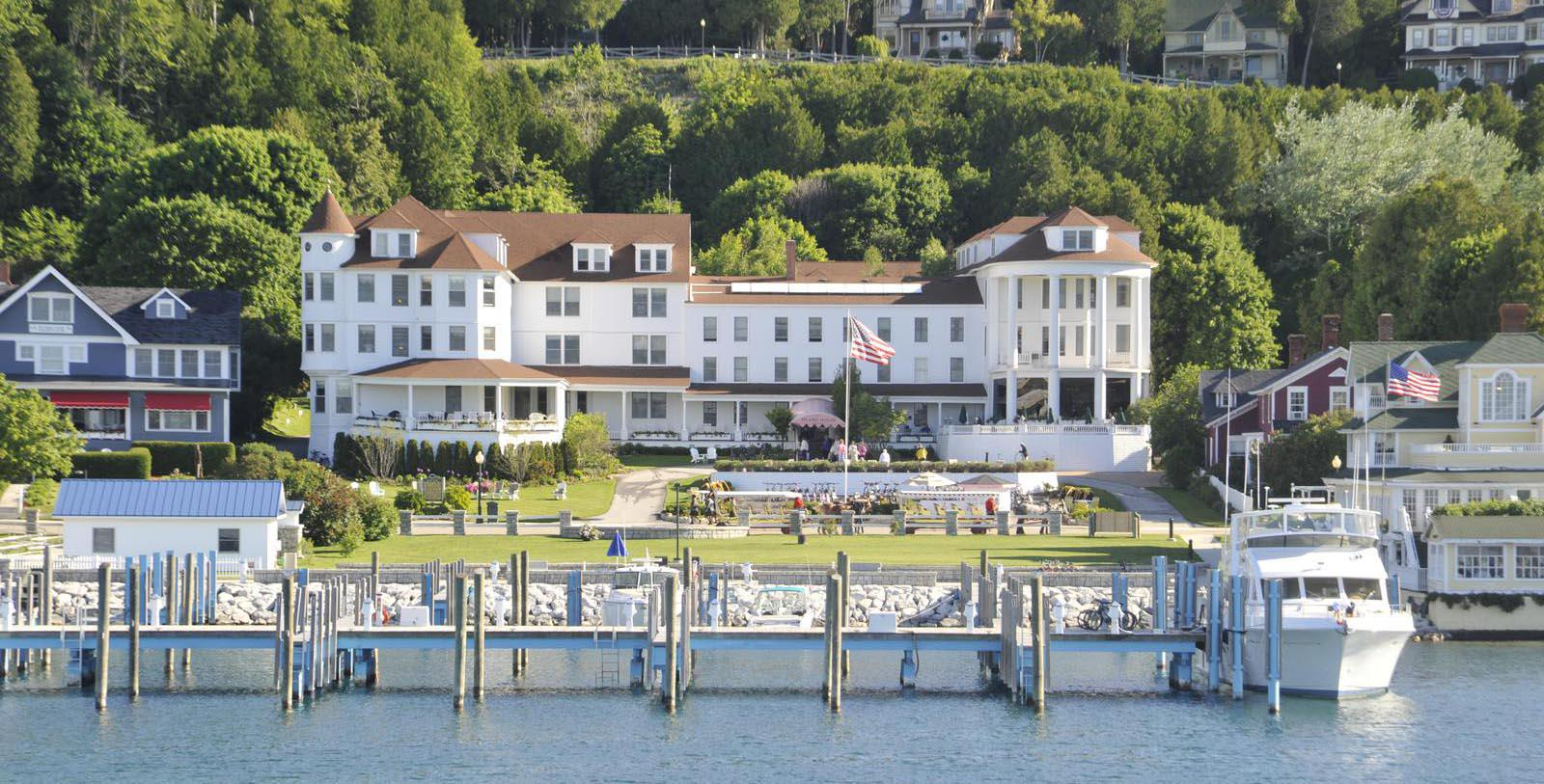 Image of Exterior and Marina, Island House Hotel in Mackinac Island, Michigan, 1852Member of Historic Hotels of America, Special Offers, Discounted Rates, Families, Romantic Escape, Honeymoons, Anniversaries, Reunions