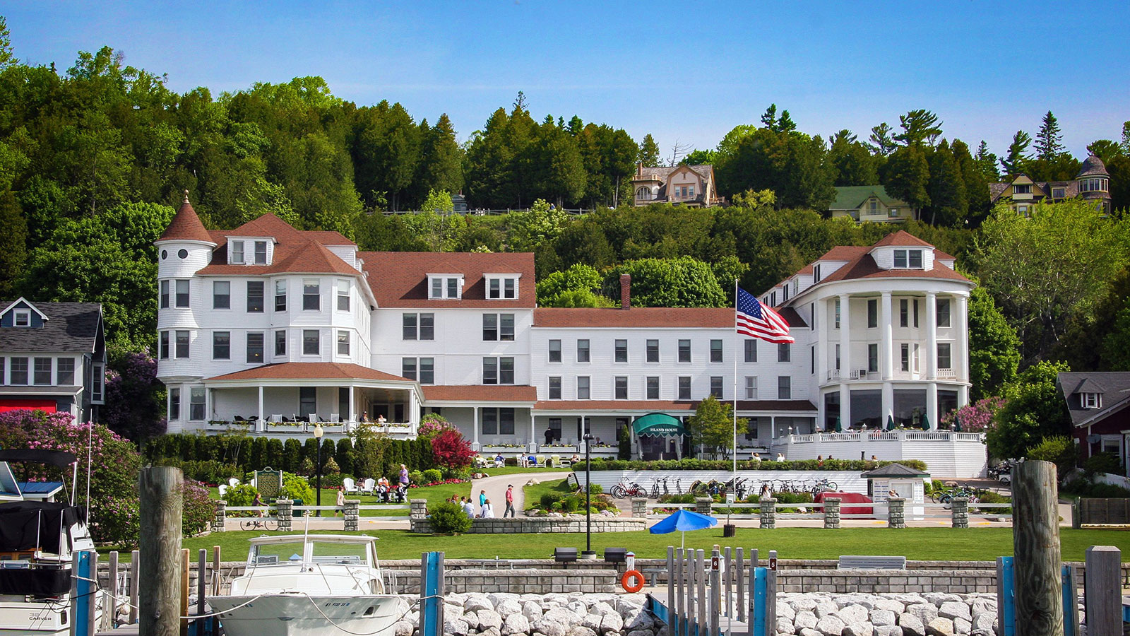 Image of Exterior and Marina, Island House Hotel in Mackinac Island, Michigan, 1852Member of Historic Hotels of America, Overview