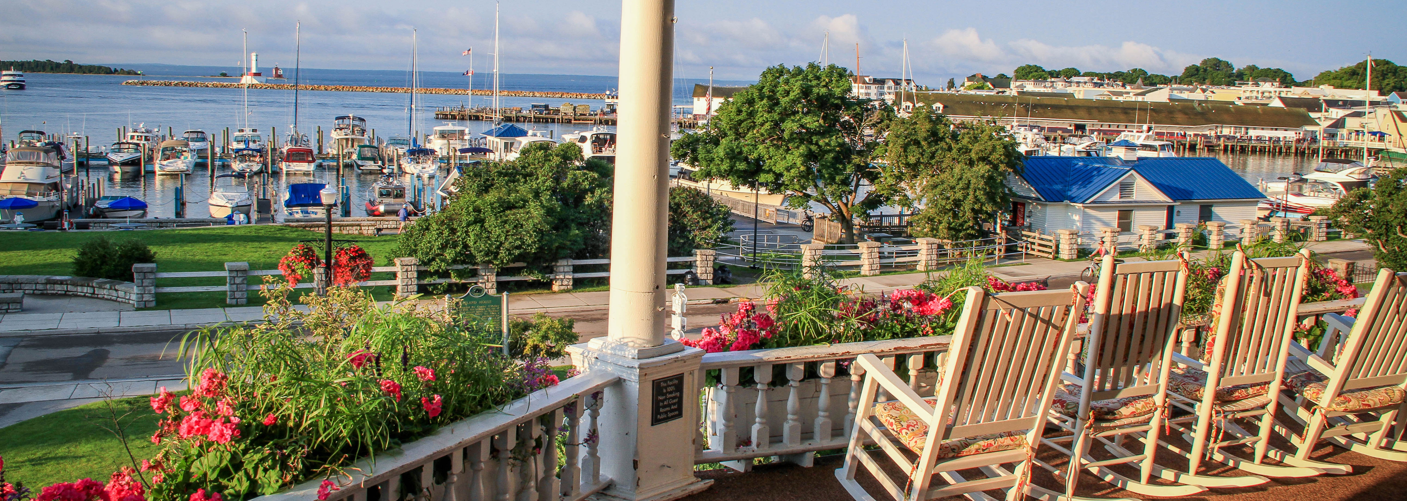Image of Marina View from Front Porch, Island House Hotel in Mackinac Island, Michigan, 1852, Member of Historic Hotels of America, Explore