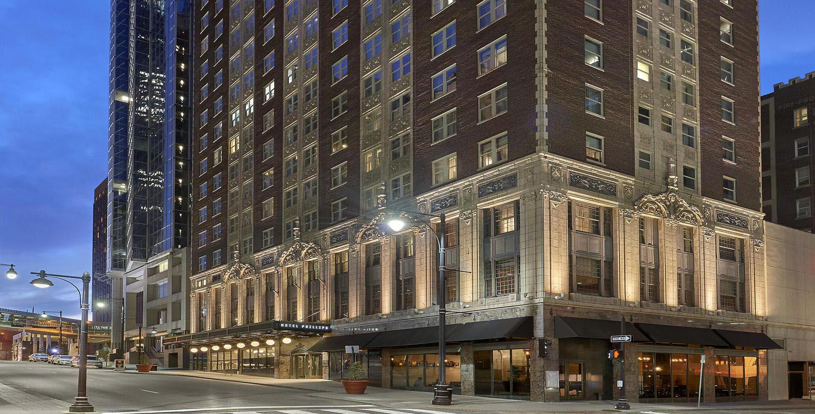 Image of Exterior at Night, Hotel Phillips Kansas City, Missouri, 1931, Curio Collection by Hilton, Member of Historic Hotels of America, Explore