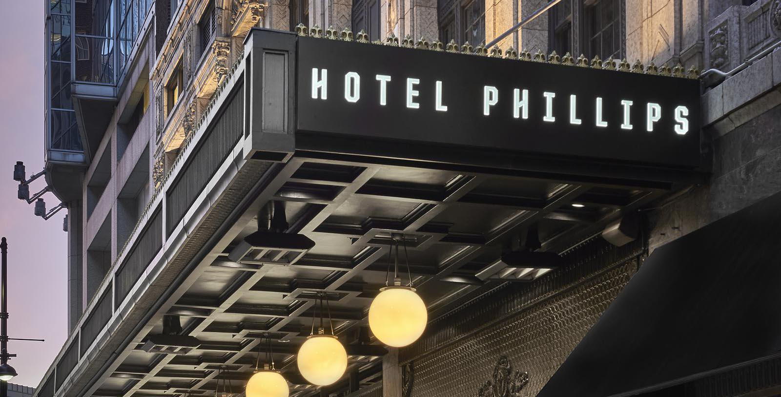 Image of Exterior Marquee, Hotel Phillips Kansas City, Missouri, 1931, Curio Collection by Hilton, Member of Historic Hotels of America, Special Offers, Discounted Rates, Families, Romantic Escape, Honeymoons, Anniversaries, Reunions