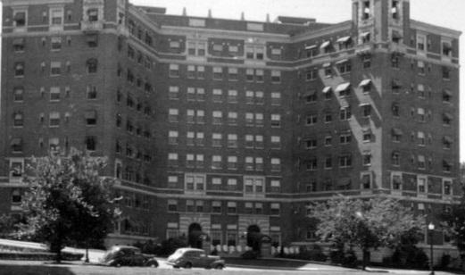 Historical Image of Exterior as Villa Serena Apartments, The Raphael Hotel, 1928, Member of Historic Hotels of America, in Kansas City, Missouri.