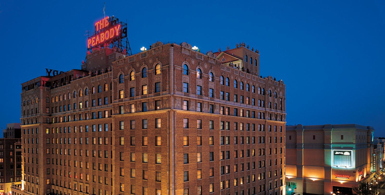 Image of Hotel Exterior The Peabody Memphis, 1869, Member of Historic Hotels of America, in Memphis, Tennessee, Special Offers, Discounted Rates, Families, Romantic Escape, Honeymoons, Anniversaries, Reunions