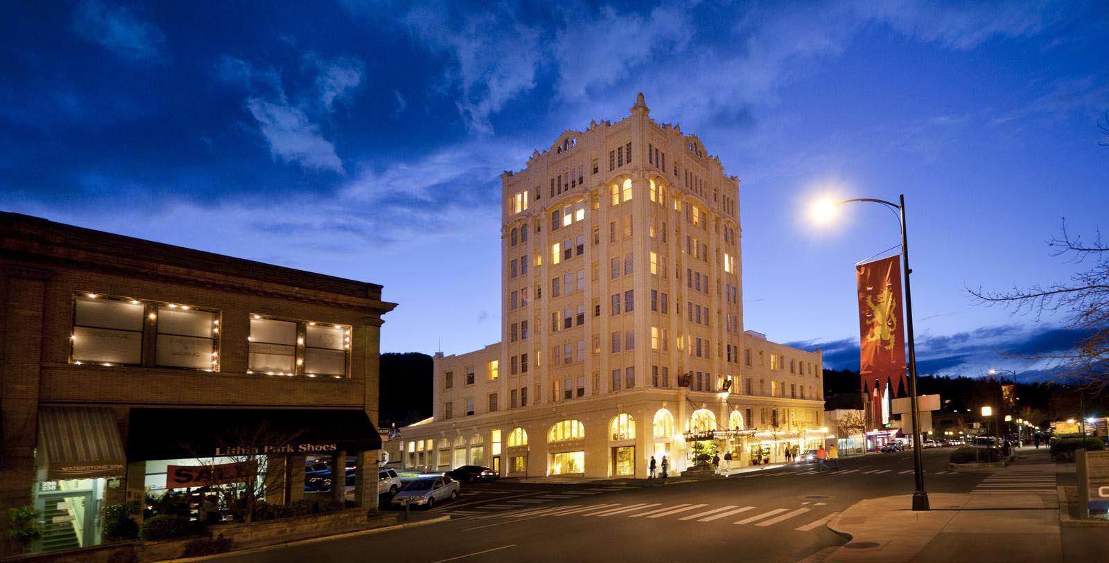 Image of Hotel Exterior at night at Ashland Springs Hotel, 1925, Member of Historic Hotels of America, in Ashland, Oregon, Explore