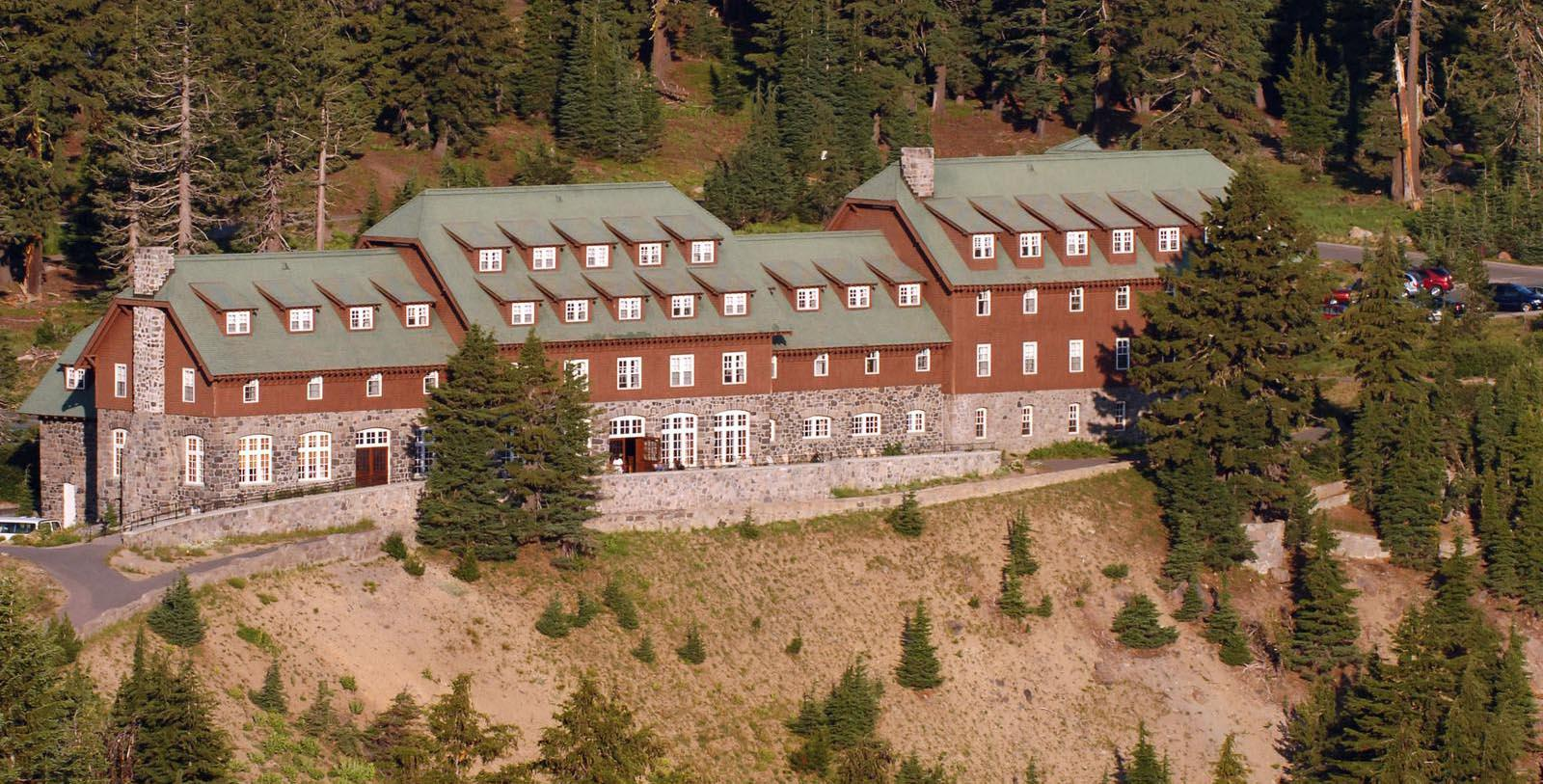 Image of hotel exterior at Crater Lake Lodge, 1915, Member of Historic Hotels of America, White City, Oregon, Discover
