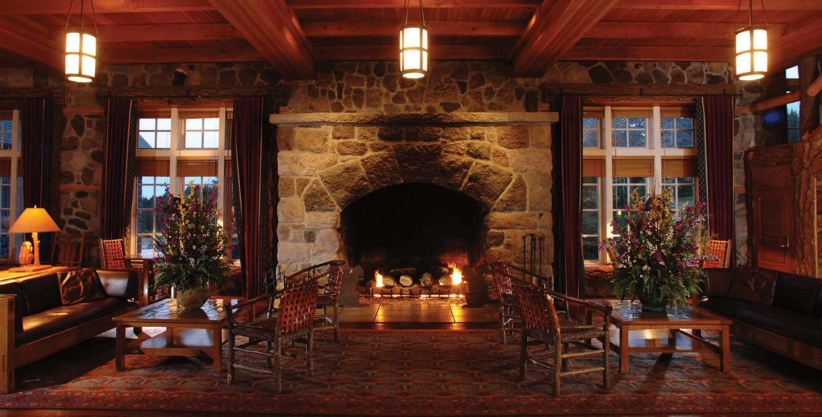 Image of fireplace in lobby Crater Lake Lodge, 1915, Member of Historic Hotels of America, White City, Oregon, Experience