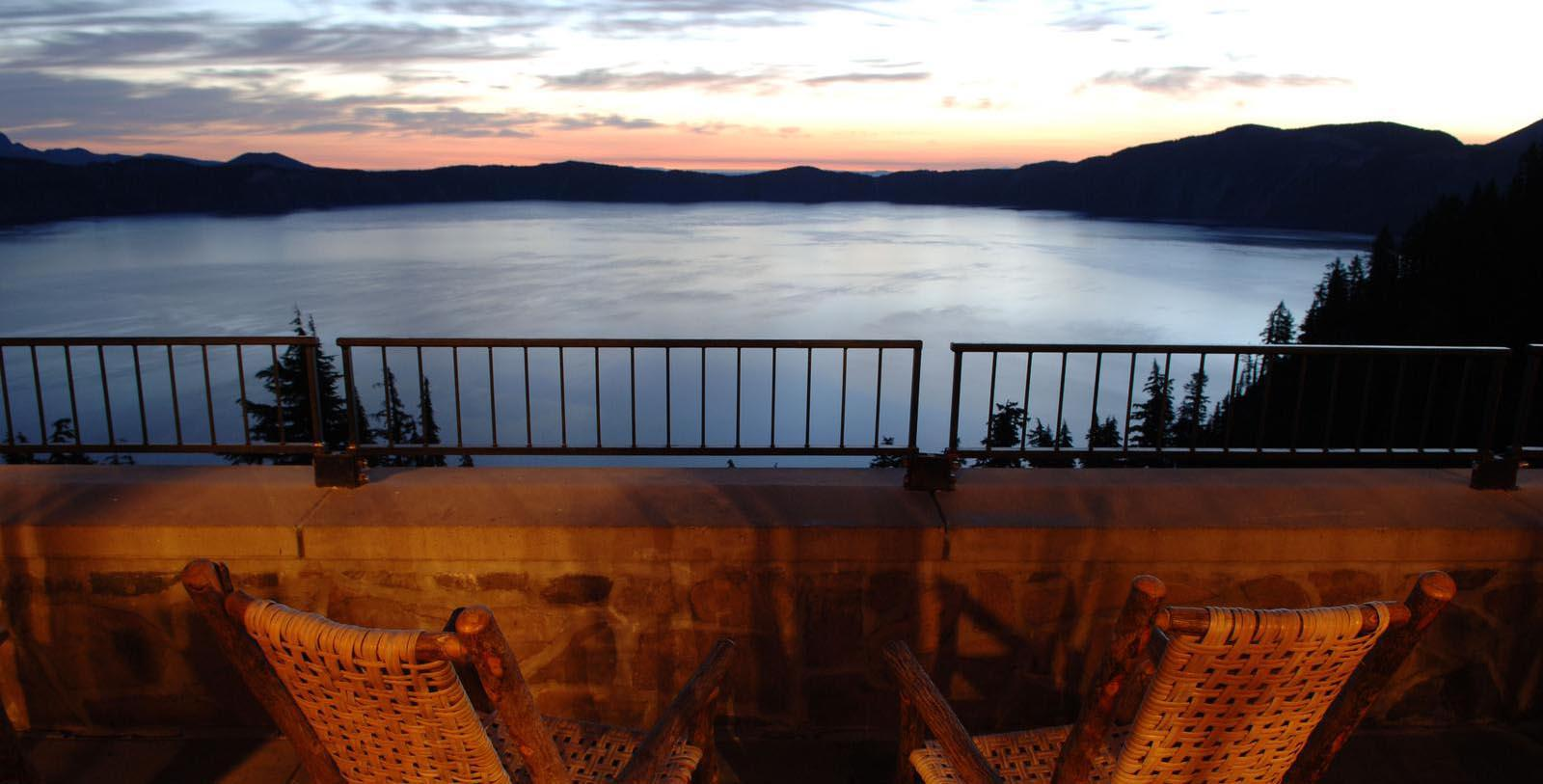 Image of lake during sunset at Crater Lake Lodge, 1915, Member of Historic Hotels of America, White City, Oregon, Taste