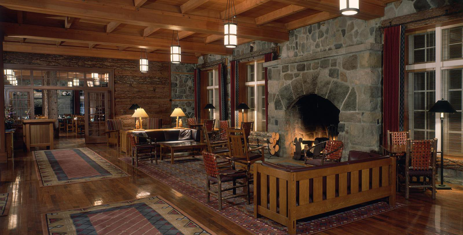 Image of lobby fireplace at Crater Lake Lodge, 1915, Member of Historic Hotels of America, White City, Oregon, Location Map