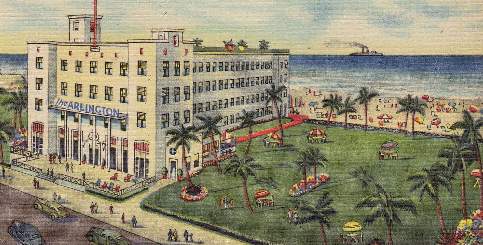 Historic postcard of hotel exterior, The Savoy Hotel and Beach Club, 1935, Member of Historic Hotels of America, Miami Beach, Florida, History