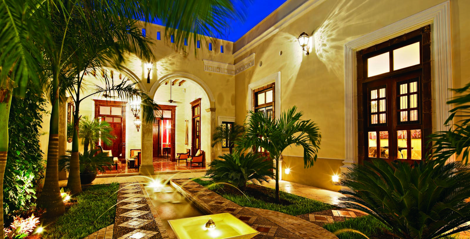 Image of courtyard exterior Casa Lecanda, 1900s, Member of Historic Hotels Worldwide, in Merida, Mexico, Special Offers, Discounted Rates, Families, Romantic Escape, Honeymoons, Anniversaries, Reunions