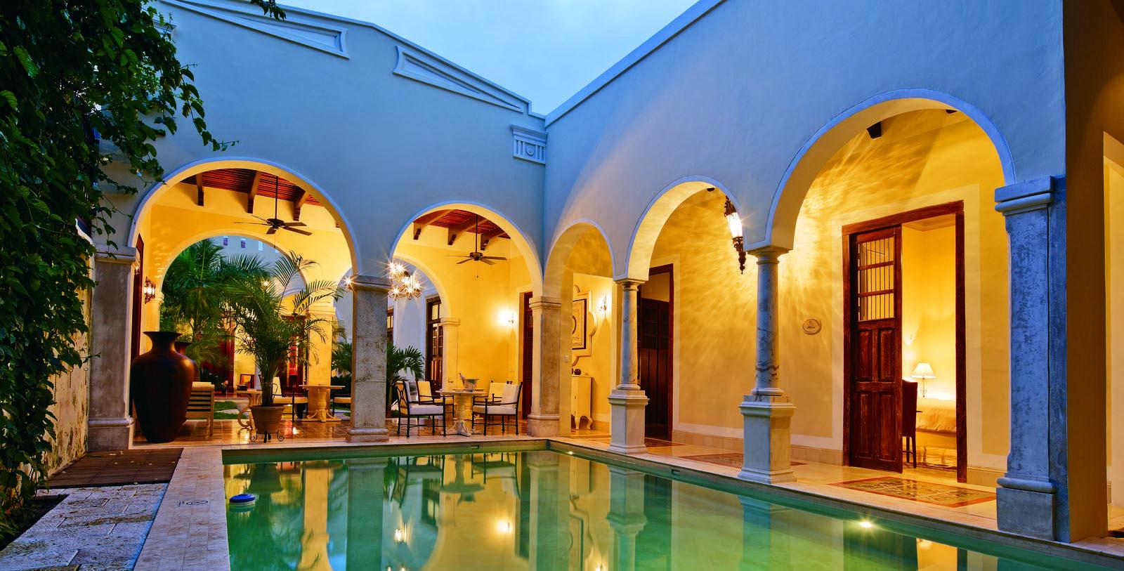 Image of outdoor courtyard Casa Lecanda, 1900s, Member of Historic Hotels Worldwide, in Merida, Mexico, Explore