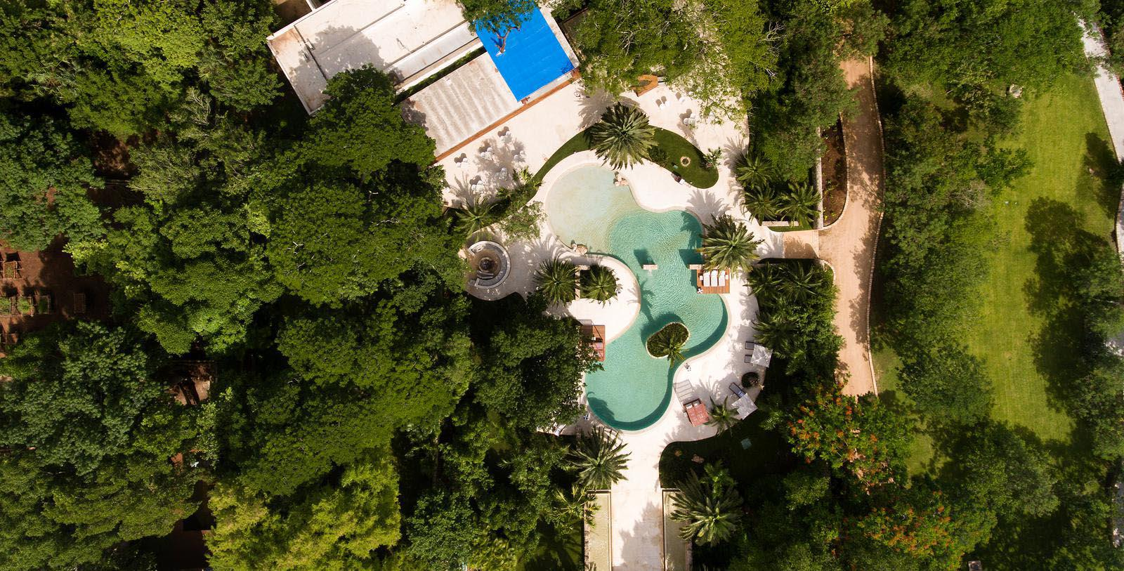Image of outdoor pool aerial view Chablé Resort & Spa, 1650, Member of Historic Hotels Worldwide, in Chocholá, Mexico, Overview