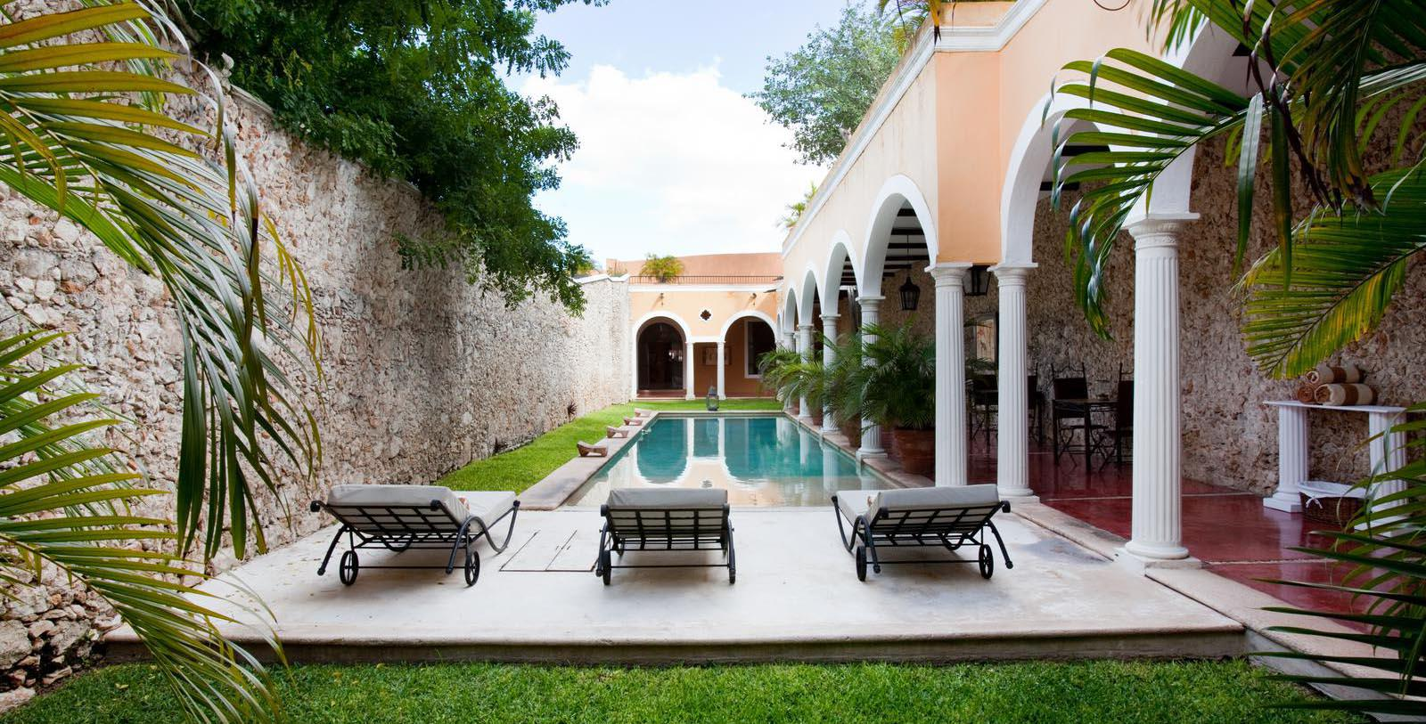 Image of Outdoor Pool Courtyard, Hotel Hacienda Merida, Mexico, 1700s, Member of Historic Hotels Worldwide, Explore