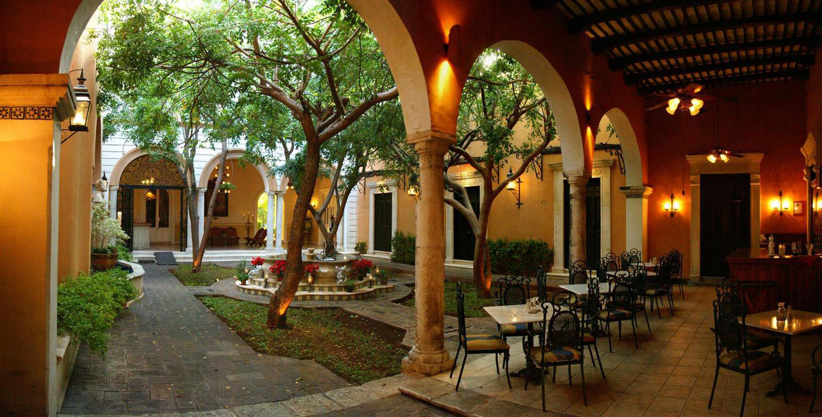 Image of Fountain and Outdoor Seating La Misión de Fray Diego, 1867, Member of Historic Hotels Worldwide, in Merida, Mexico, Discover