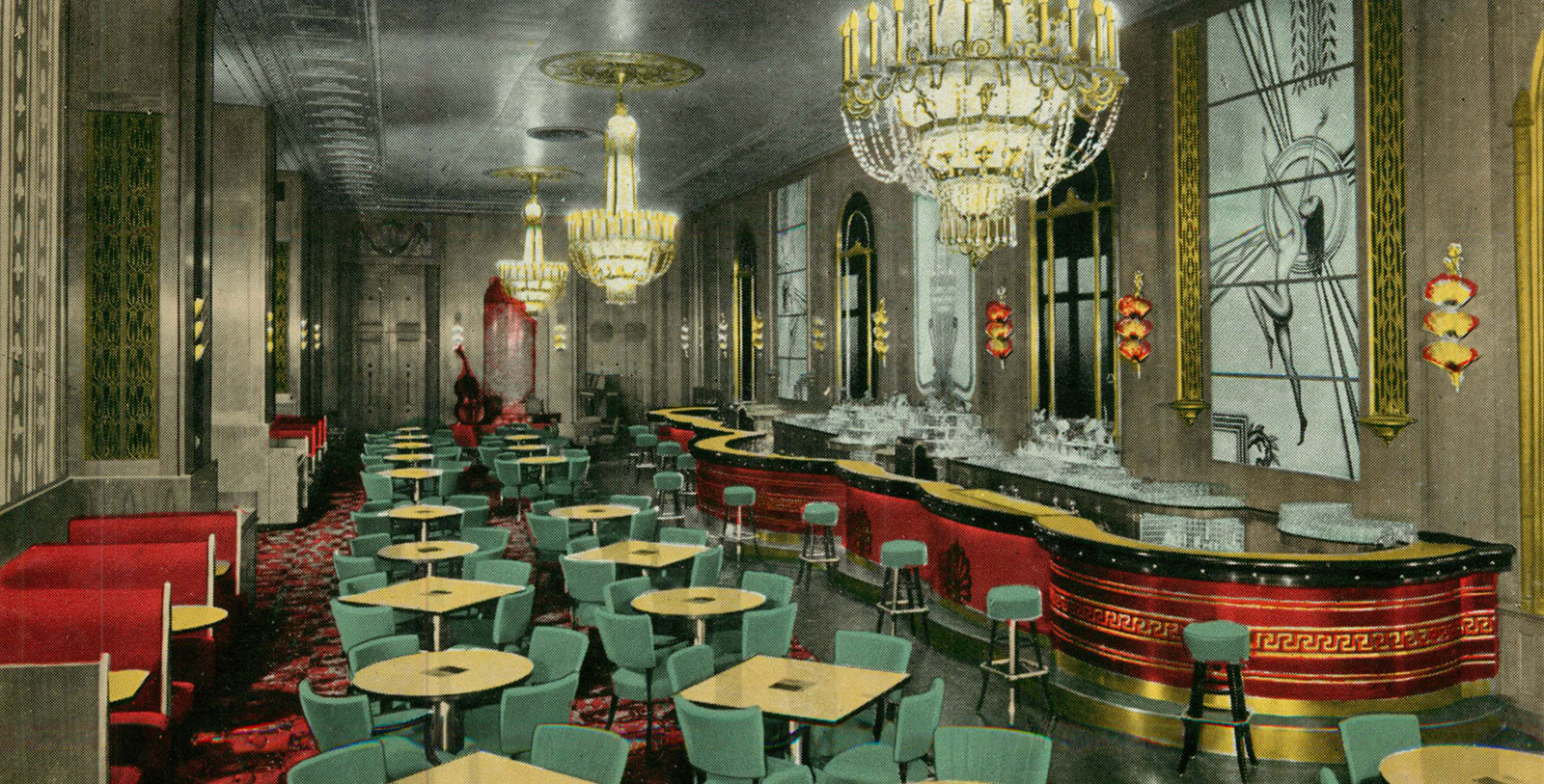 Historic Postcard of Schroeder Hotel Cocktail Lounge, Hilton Milwaukee City Center, 1927, Member of Historic Hotels of America, Milwaukee, Wisconsin, History