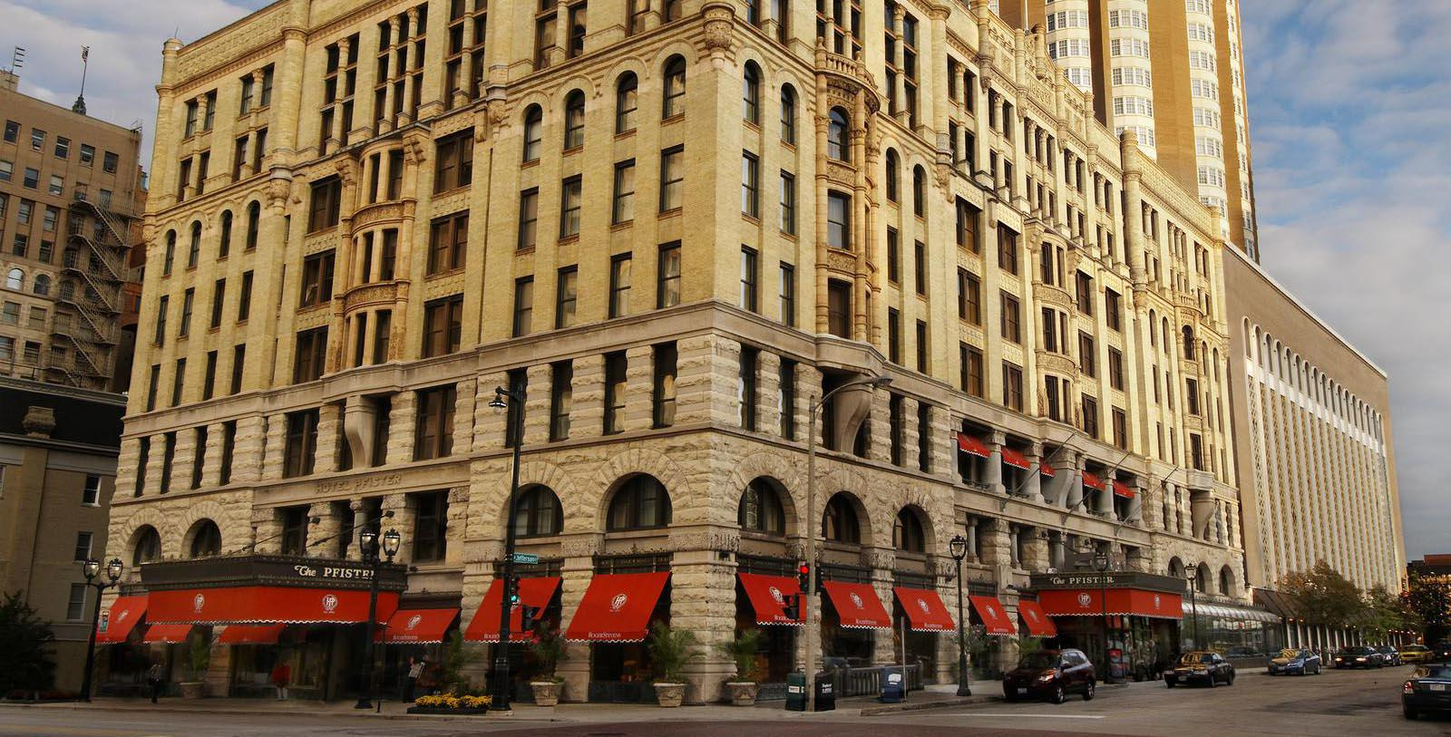 Image of Hotel Exterior The Pfister Hotel, 1893, Member of Historic Hotels of America, in Milwaukee, Wisconsin, Explore
