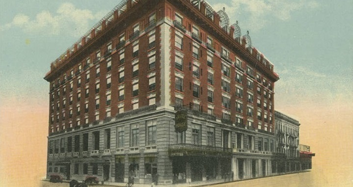 Historical Image of Exterior on Postcard, Battle House Renaissance Mobile Hotel & Spa, 1852, Member of Historic Hotels of America, in Mobile, Alabama.