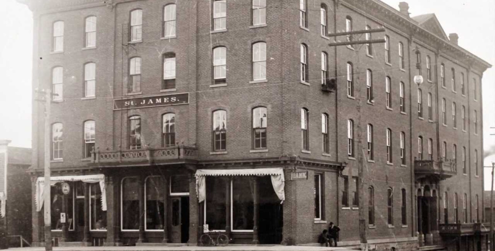 Historical Image of Exterior Street View, St. James Hotel, 1875, Member of Historic Hotels of America, in Red Wing, Minnesota.