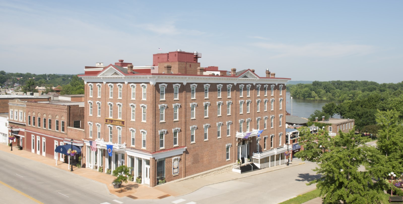 Image of Hotel Exterior St. James Hotel, 1875, Member of Historic Hotels of America, in Red Wing, Minnesota, Overview