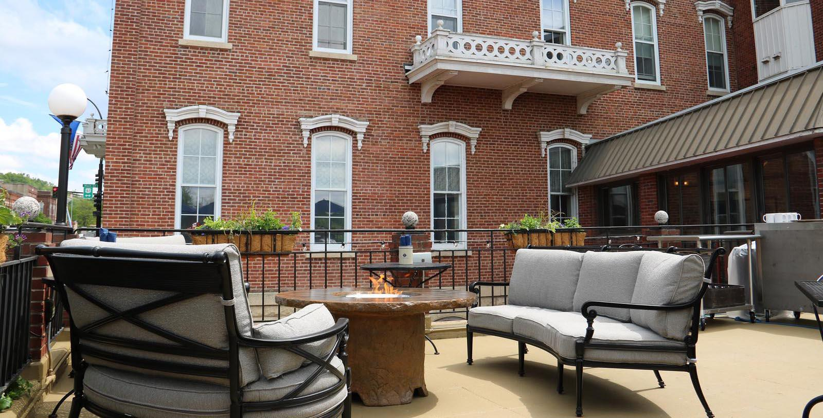Image of Outdoor Seating Area St. James Hotel, 1875, Member of Historic Hotels of America, in Red Wing, Minnesota, Discover