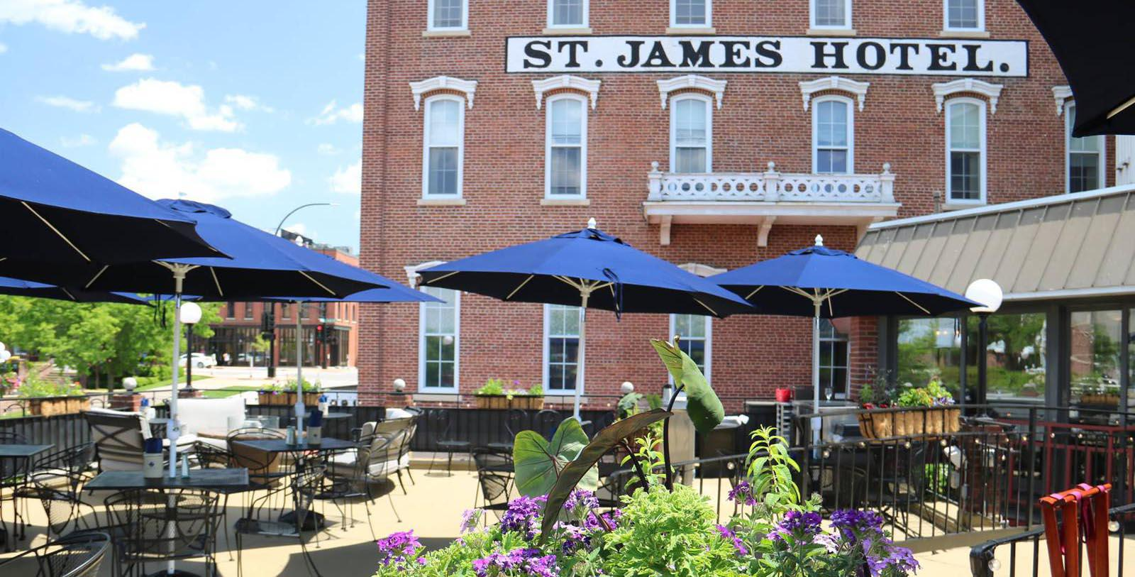 Image of Outdoor Dining Area St. James Hotel, 1875, Member of Historic Hotels of America, in Red Wing, Minnesota, Special Offers, Discounted Rates, Families, Romantic Escape, Honeymoons, Anniversaries, Reunions