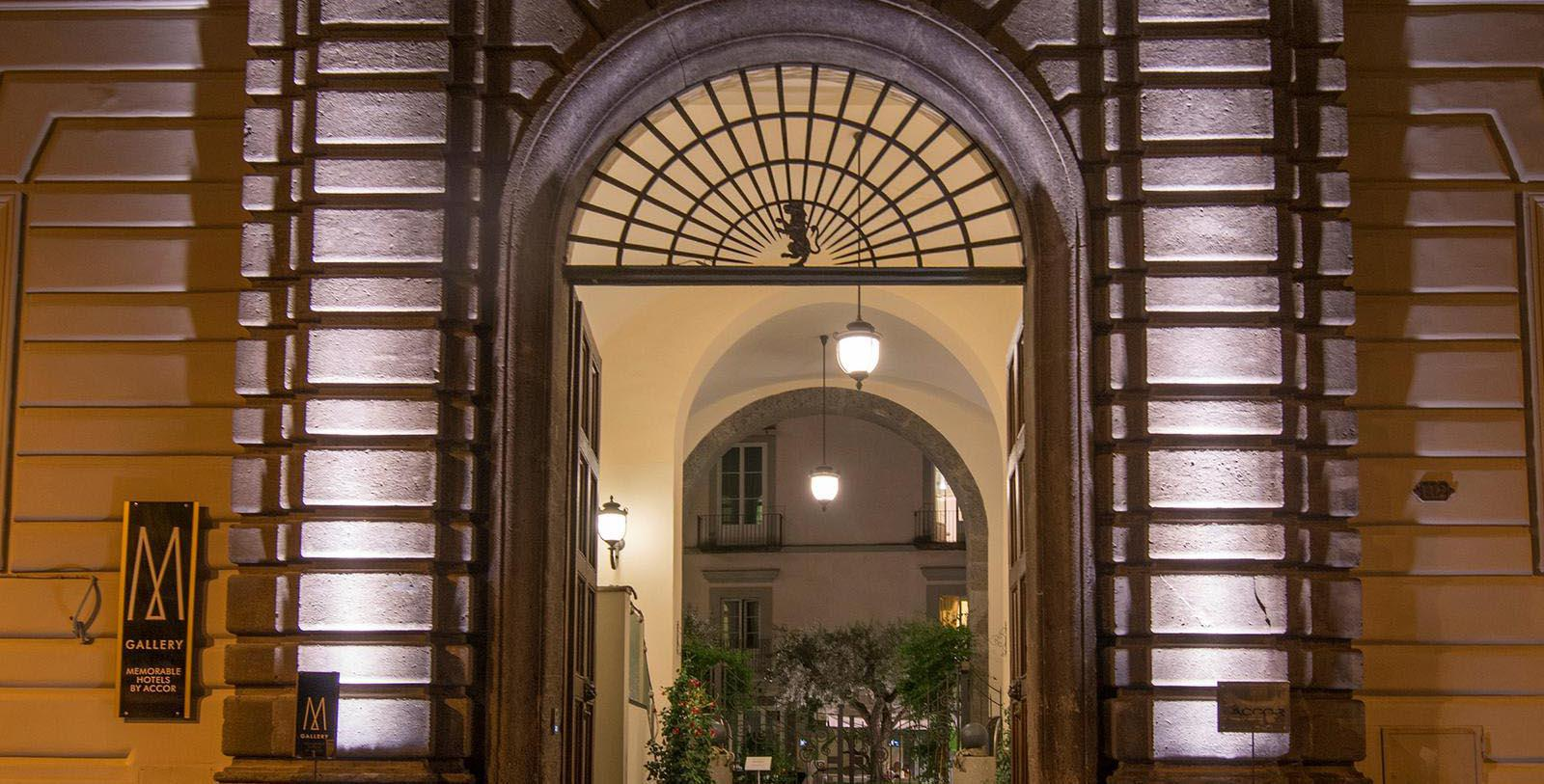 Image of Hotel Entrance Palazzo Caracciolo Napoli - MGallery by Sofitel, 1584, Member of Historic Hotels Worldwide, in Naples, Italy, Special Offers, Discounted Rates, Families, Romantic Escape, Honeymoons, Anniversaries, Reunions