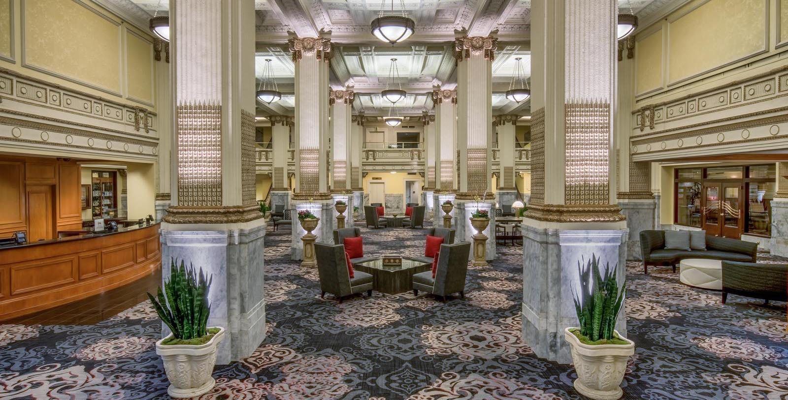 Image of lobby at Embassy Suites by Hilton Portland Downtown, 1912, Member of Historic Hotels of America, in Portland, Oregon, Special Offers, Discounted Rates, Families, Romantic Escape, Honeymoons, Anniversaries, Reunions
