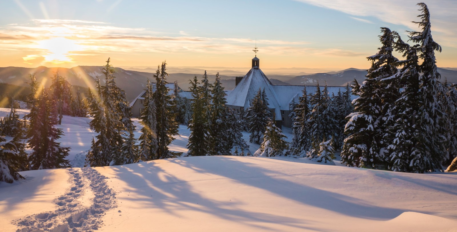 Image Of Rear Exterior With Trees Timberline Lodge Oregon