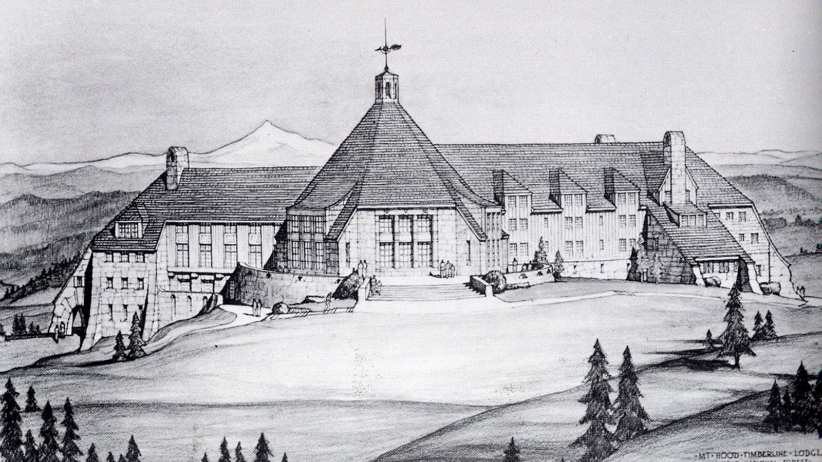 Historic image of hotel exterior Timberline Lodge, 1937, Member of Historic Hotels of America, in Timberline, Oregon, Discover