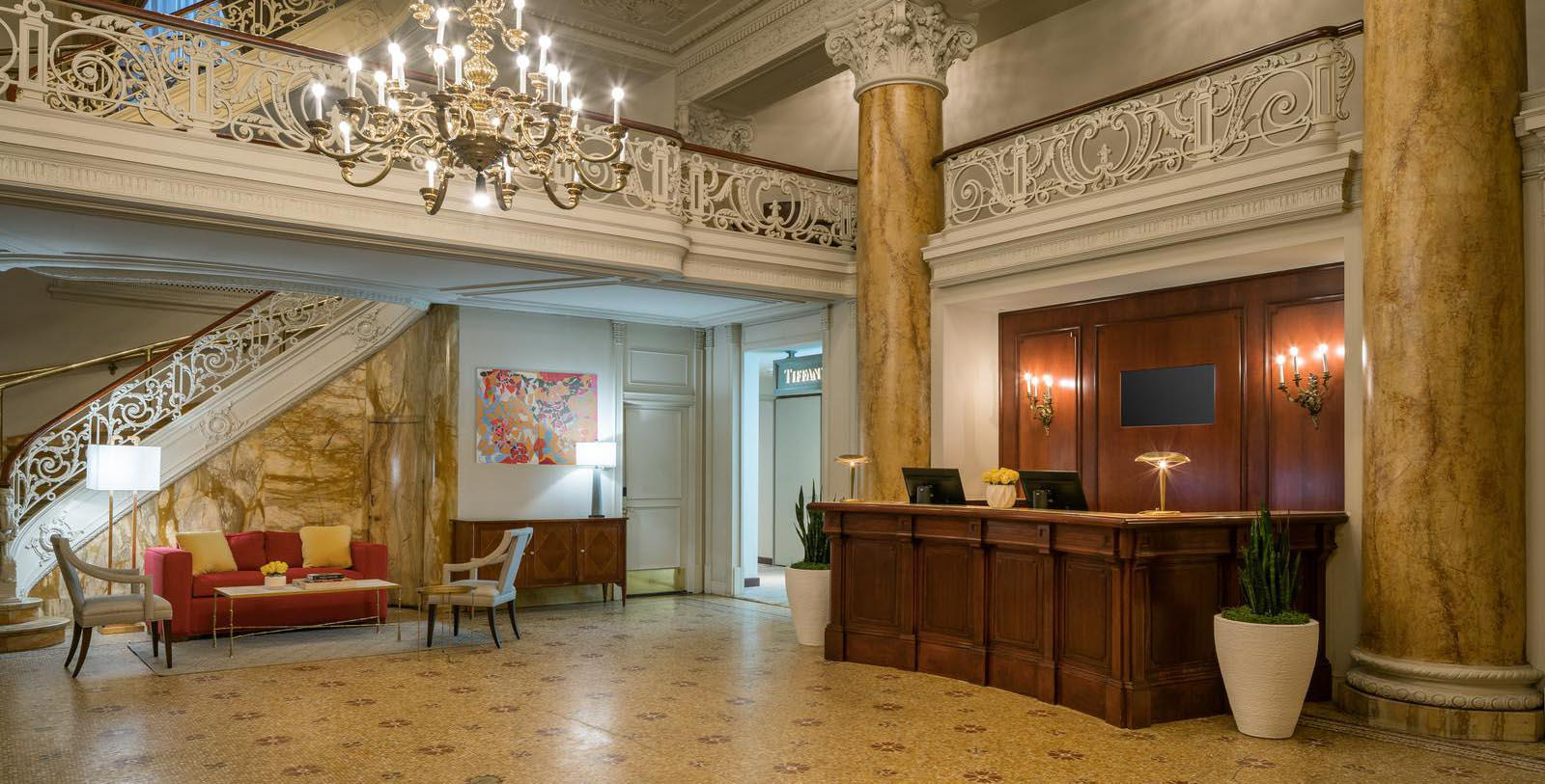 Image of the Lobby The Bellevue Hotel, 1904, Member of Historic Hotels of America, in Philadelphia, Pennsylvania, Special Offers, Discounted Rates, Families, Romantic Escape, Honeymoons, Anniversaries, Reunions