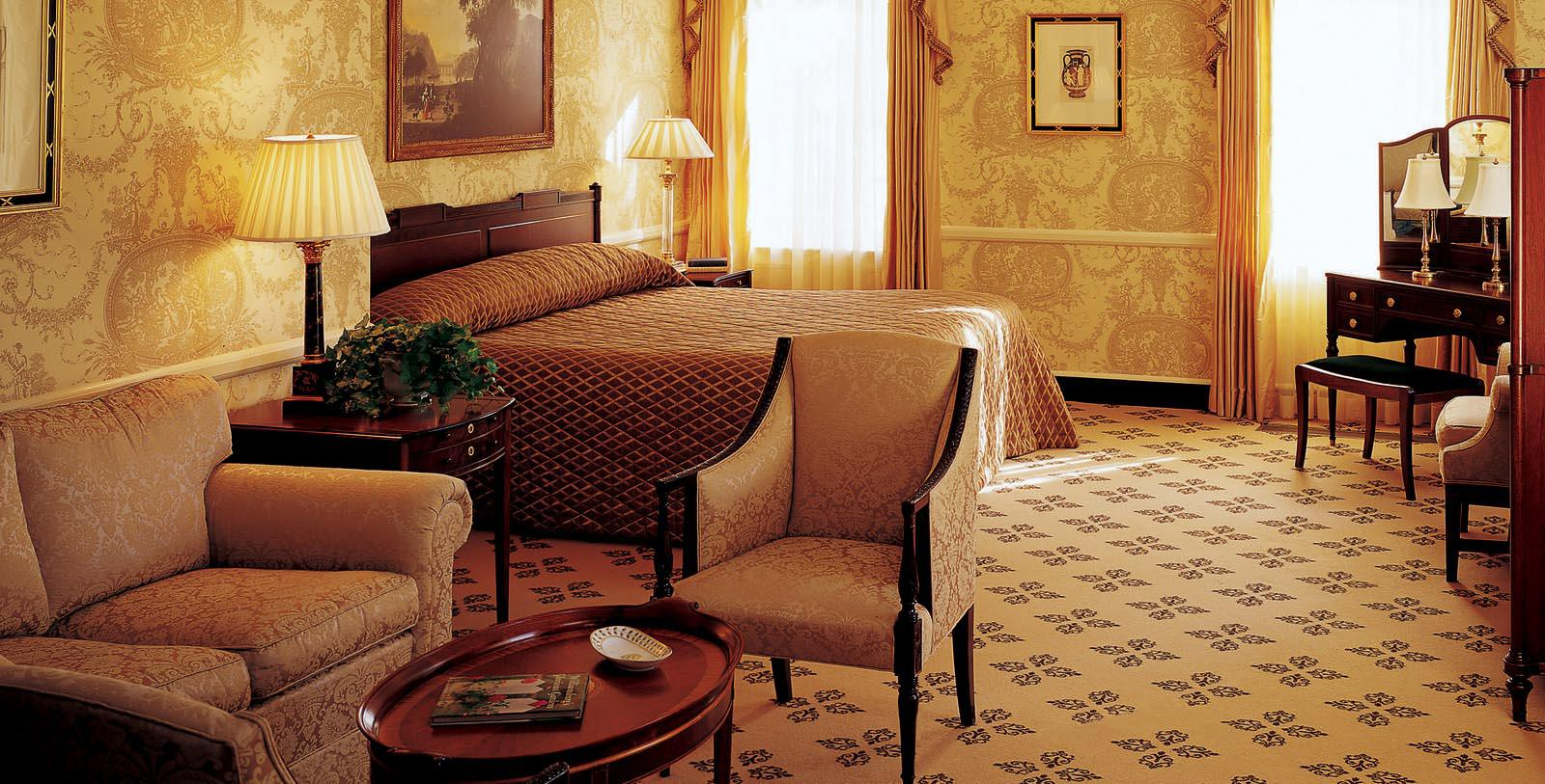 Image of guestroom Williamsburg Inn, 1937, Member of Historic Hotels of America, in Williamsburg, Virginia,Location Map
