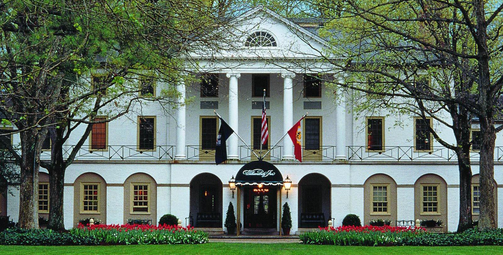 Image of hotel exterior at Williamsburg Inn, 1937, Member of Historic Hotels of America, in Williamsburg, Virginia,Discover