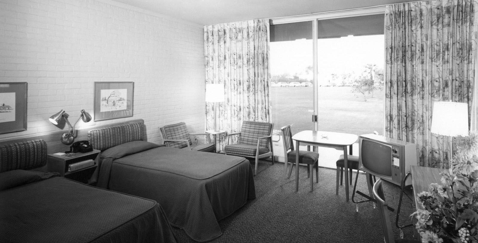 Image of Historic Guestroom Interior, Hotel Valley Ho, Scottsdale, Arizona, 1956, Member of Historic Hotels of America, Discover