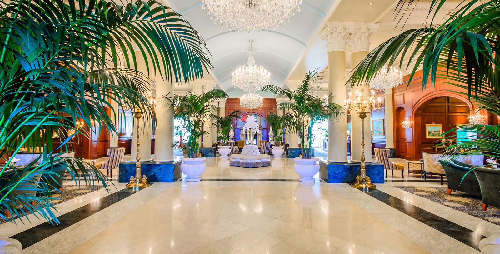 Image of Hotel Lobby, the Lodge at Nemacolin Woodlands Resort, 1968, Member of Historic Hotels of America, Farmington, Pennsylvania