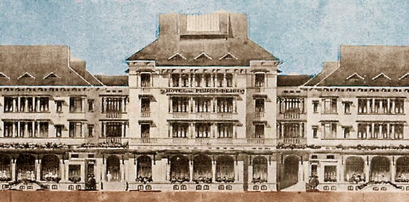 Historical Drawing of Exterior, Raffles Hotel Le Royal, 1929, Member of Historic Hotels Worldwide, in Phnom Penh, Cambodia.