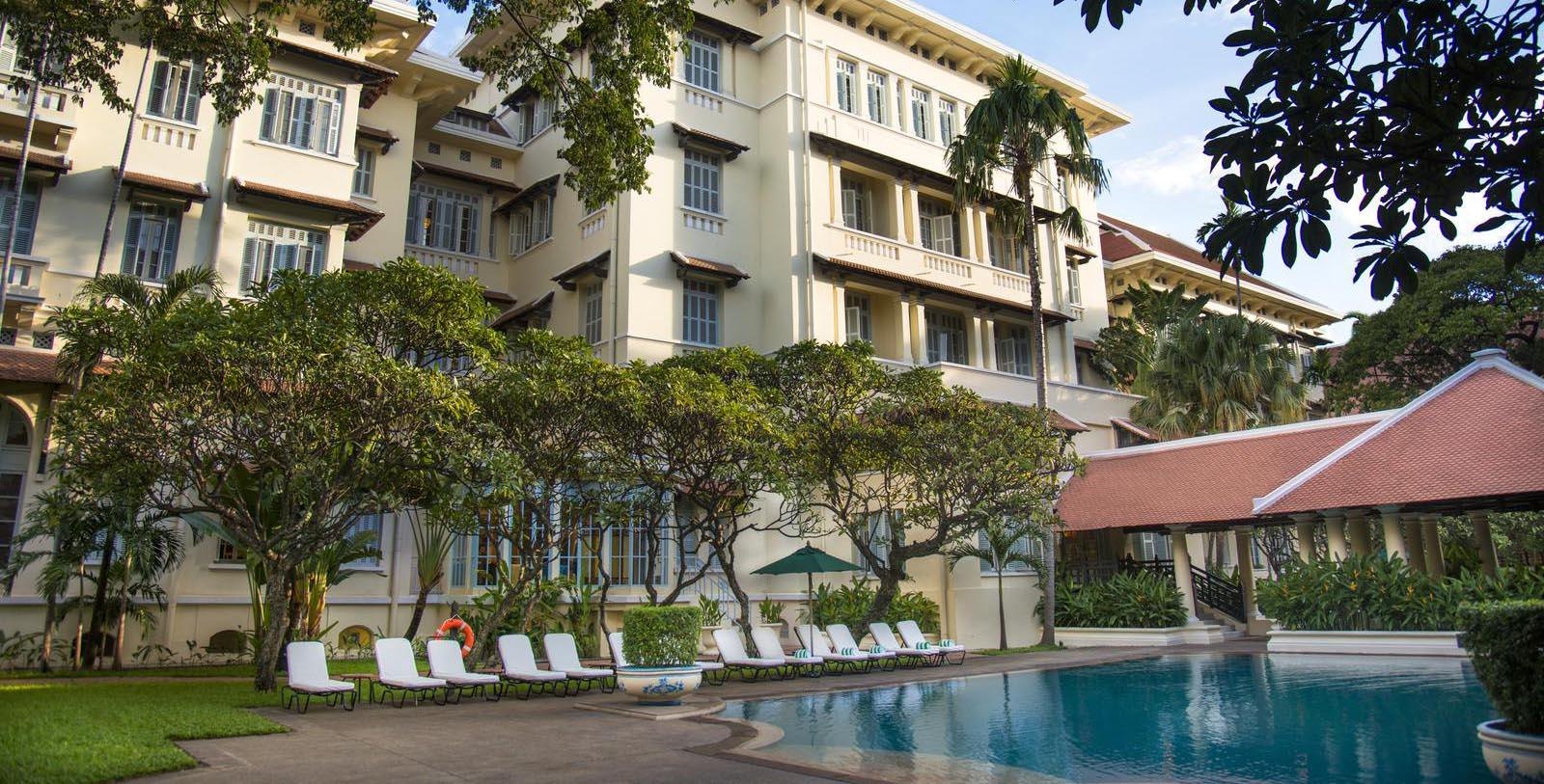 Image of Pool Raffles Hotel Le Royal, 1929, Member of Historic Hotels Worldwide, in Phnom Penh, Cambodia, Special Offers, Discounted Rates, Families, Romantic Escape, Honeymoons, Anniversaries, Reunions