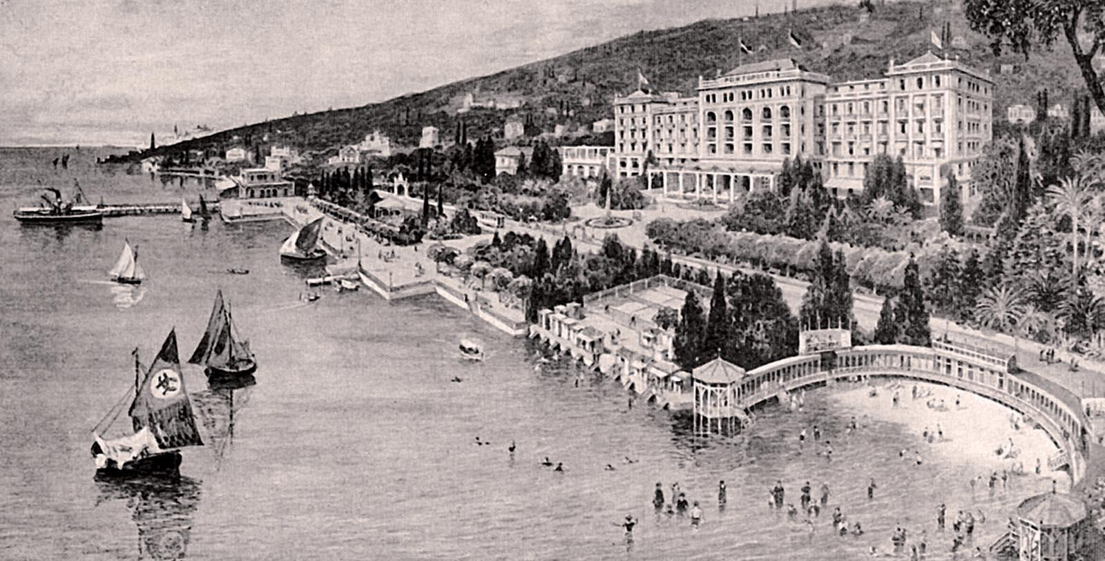 Historic Image of Hotel Exterior Kempinski Palace Portorož, 1908, Member of Historic Hotels Worldwide, in Portoroz, Slovenia, Discover