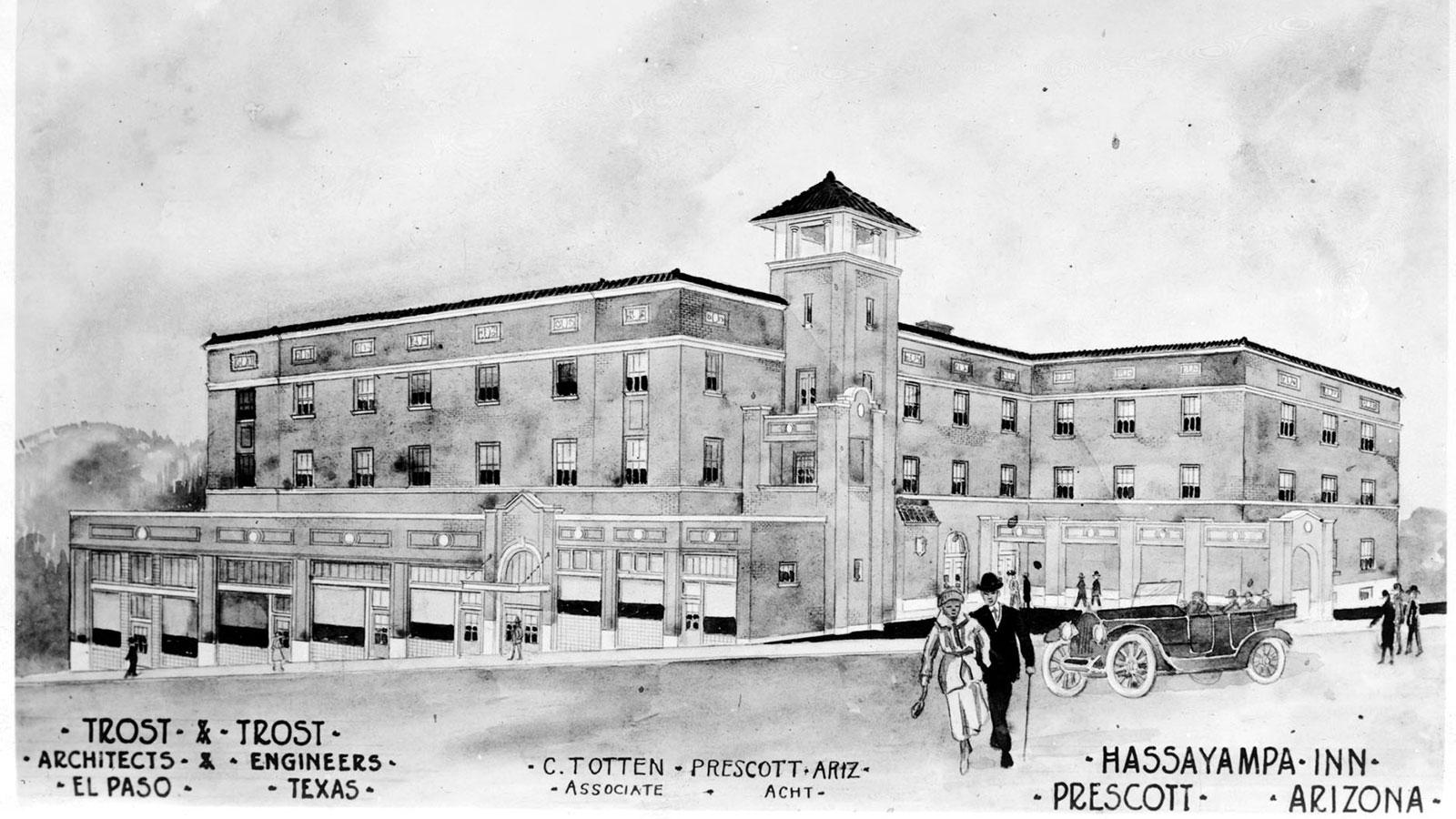 Historic image of hotel exterior at Hassayampa Inn, 1927, Member of Historic Hotels of America, in Prescott, Arizona, Discover